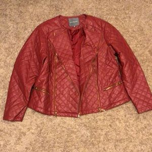 Crimson Red faux leather jacket